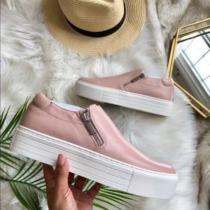 Kenneth Cole Juneau Pink Zipper Platform Sneakers